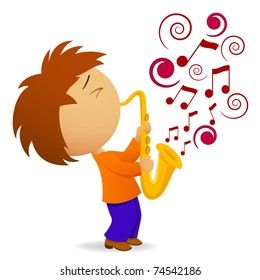 Vector illustration. Cartoon saxophonist with abstract music note
