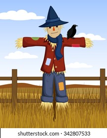 Vector illustration of a cartoon scarecrow and an autumn country background.