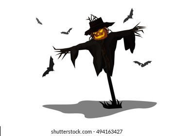 Vector Illustration and Cartoon : Scarecrow Head Pumpkin Jack o Lantern Halloween isolated on white background.