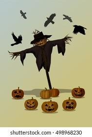 Vector Illustration and Cartoon : Scarecrow Head Pumpkin Jack o Lantern Halloween on Dark background.