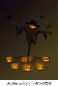 Vector Illustration and Cartoon : Scarecrow Head Pumpkin Jack o Lantern Halloween on Night Dark background.