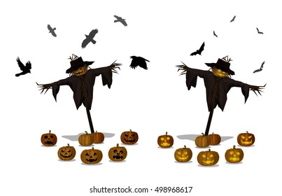 Vector Illustration and Cartoon : Scarecrow Head Pumpkin Jack o Lantern Halloween Day and Night isolated on white background.