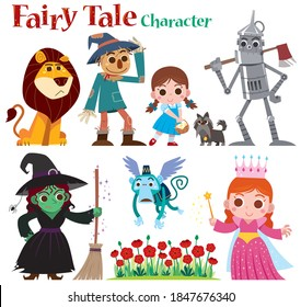 Vector illustration of Cartoon Set Fairy tales characters. red shoes girl, lion, straw man and robot
