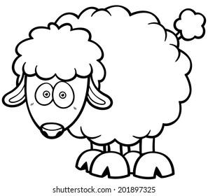 Vector illustration of a cartoon sheep - Coloring book