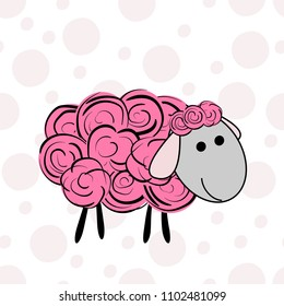Vector illustration of a cartoon sheep. Prints for textiles. Cute print. T-shirt graphics for kids