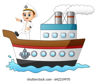 Vector Illustration Of Cartoon Ship Captain Pointing On A