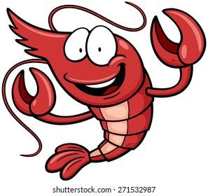 Vector Illustration of Cartoon shrimp