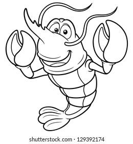 Vector illustration of Cartoon shrimp - Coloring book