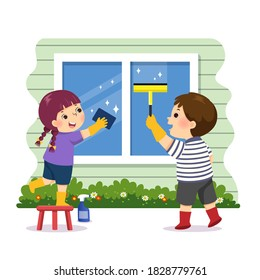 Vector illustration cartoon of siblings helping to clean the window at home. Kids doing housework chores at home concept.