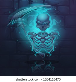 Vector illustration cartoon skeleton. For web, video games, user interface, design.