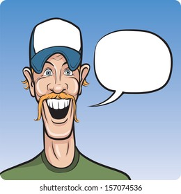 Vector illustration of cartoon smiling man in baseball cap. Easy-edit layered vector EPS10 file scalable to any size without quality loss. High resolution raster JPG file is included.