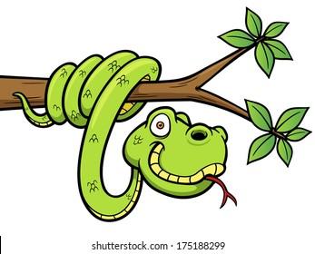 Vector Illustration of Cartoon Snake