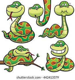 Vector Illustration of Cartoon Snake Character Set