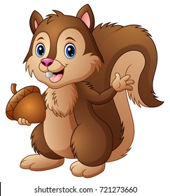 Vector illustration of Cartoon squirrel holding an acorn