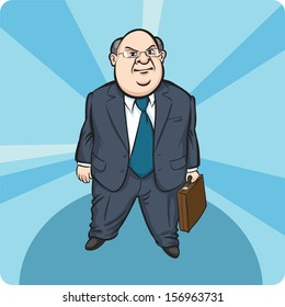 Vector illustration of Cartoon standing fat businessman. Easy-edit layered vector EPS10 file scalable to any size without quality loss. High resolution raster JPG file is included.