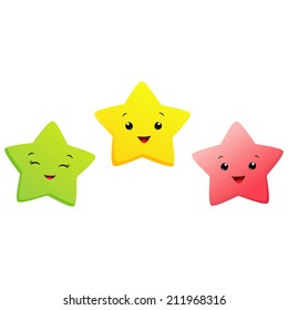Vector illustration of cartoon stars for design element