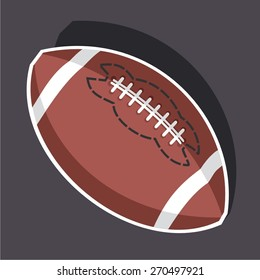 Vector illustration of a cartoon stickers of american football