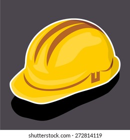Vector illustration of a cartoon stickers of safety helmet, hard hat