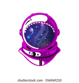 Vector illustration cartoon style astronaut helmet with planets, stars and cosmic space inside on white backdrop.