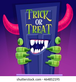 Vector illustration in cartoon style character with the monster on the day of Halloween. Behemoth climbs out of the door, greeting card.