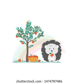 Vector illustration of cartoon style cute hedgehog with Apple. Children s picture. Print for clothes, dishes etc.