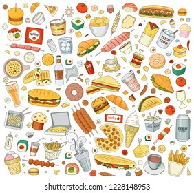 Vector illustration Cartoon style. Fast food objects. This collection include hamburger, snack, burger, french fries, barbecue, drinks and other items.