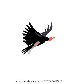 Vector illustration. Cartoon style icon of vulture. Cute character for different design.