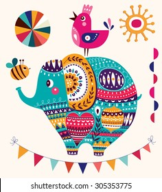 Vector illustration in cartoon style. Lovely cute Elephant. Baby birth card with Elephant