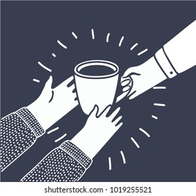 Vector illustration in cartoon style with persons gives another a Cup of coffee or tea from hand to hand. Help to the needy, humanity, charity, vulnerable sectors of society in black and white style