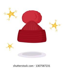 Vector illustration in cartoon style. Red cartoon winter hat with little stars. Fashion illustration, greeting card with clothes.