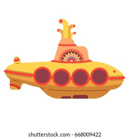 Vector illustration in a cartoon style. Yellow submarine - the main attribute of the Beatles music group