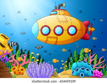 Vector illustration of Cartoon submarine underwater