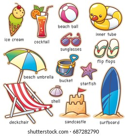 Vector illustration of Cartoon Summer Vacation vocabulary
