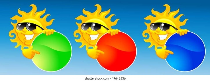vector illustration if cartoon sun with color button