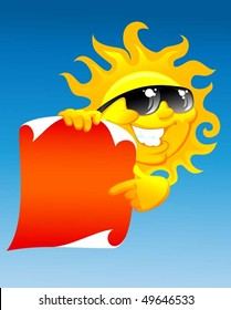 vector illustration of the cartoon sun with red scroll