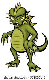 Vector illustration of a cartoon swamp monster.