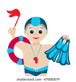 Vector illustration. Cartoon swimming coach isolated on white background