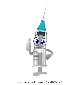 Vector Illustration of Cartoon Syringe Mascot