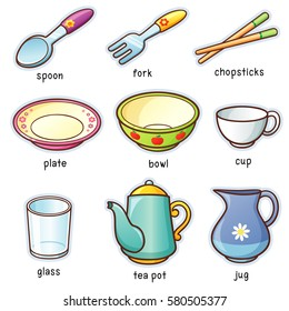 Vector illustration of Cartoon tableware vocabulary