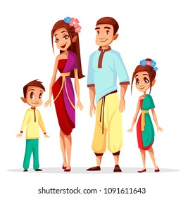 Vector illustration cartoon Thai people characters of family, woman and man with children or kids, girl and boy happy in traditional national Thailand clothing