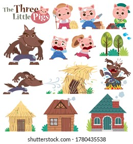 Vector illustration of Cartoon The Three little pigs. Set of cute characters