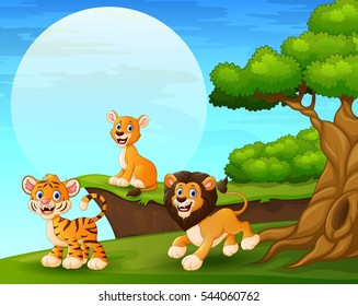 Vector illustration of Cartoon tiger and lions playing near the cliff