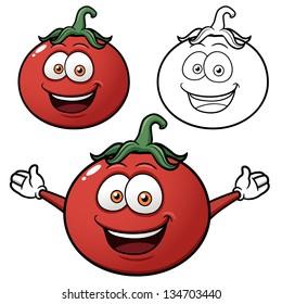 Vector illustration of cartoon tomato