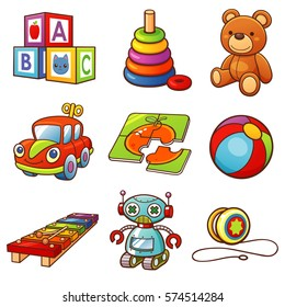 Vector illustration of Cartoon toys set