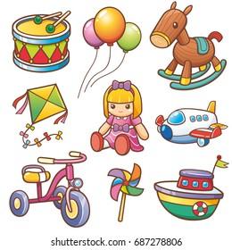 Vector illustration of Cartoon toys set