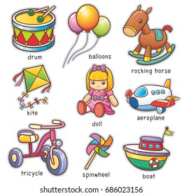 Vector illustration of Cartoon toys vocabulary