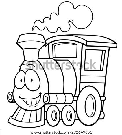Vector Illustration Cartoon Train Coloring Book Stock Vector ...