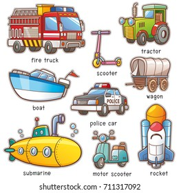 Vector Illustration of Cartoon Transportation vocabulary