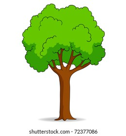 Vector illustration. Cartoon tree isolated on white background