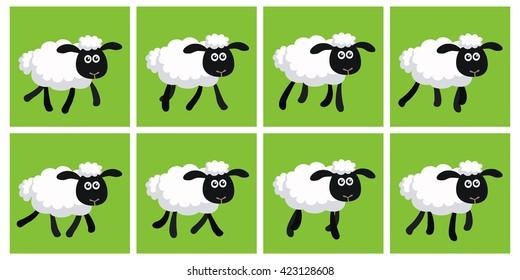 Vector illustration of cartoon trotting sheep animation sprite